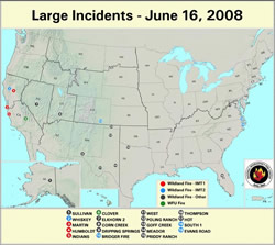 Large wildfire incidents as of mid-June 2008