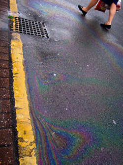 Motor oil leaked from individual vehicles - or outright dumped by homeowners and commercial garages - constitutes a significant chunk of storm water runoff, the fallen precipitation that runs off of roads and parking lots and inevitably finds its way into local water bodies