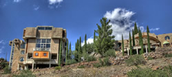 Some 420 eco-villages exist in both urban and rural settings around the world today. Pictured here: the west end of Arcosanti, a self-described