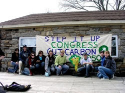 """Starting an environemtnal club at school is a great way to get fellow students involved in environemntal issues. Pictured: students and an advisor from REEF, an environemental club at Rye Neck (NY) High School in front of the banner they made for """"Save Our Shoreline"""", a rally held on the shores of Long Island Sound."""