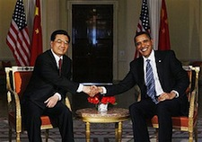 President Obama and Hu take time for a photo op. Where will discussions of clean energy policy between the two nations lead?